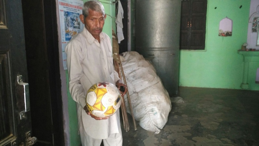 A resident, Bhola Ram from Sondh with a locally made football